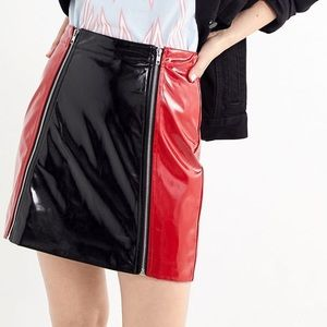 Lazy Oaf Red & Black Zip Panel Vinyl Mini Skirt